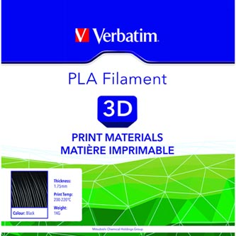 Verbatim 3D filament, PLA, 1,75mm, 1000g, 55267, černá