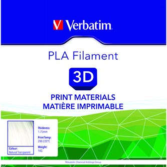 Verbatim 3D filament, PLA, 1,75mm, 1000g, 55274, transparentní