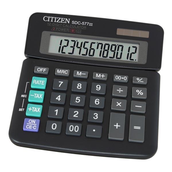 Citizen Kalkulačka SDC577III, černá, stolní, dvanáctimístná, s nastavitelným displejem, duální napájení