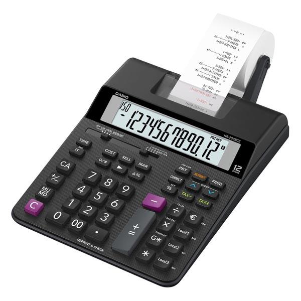 Casio Kalkulačka HR 200 RCE, černá, dvanáctimístná, s tiskem, duální napájení, dvoubarevný tisk