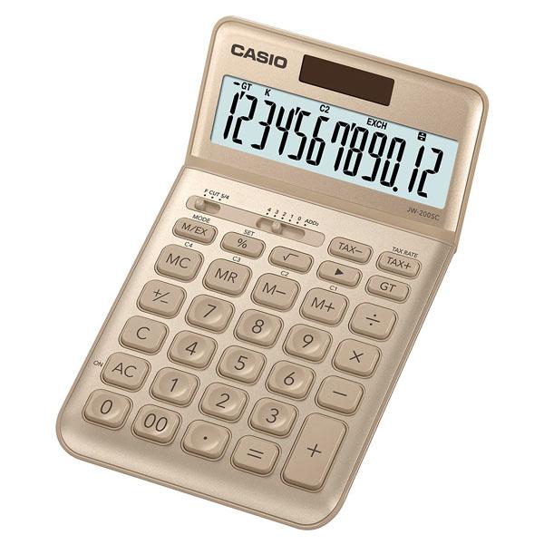 Casio Kalkulačka JW 200 SC GD, zlatá, dvanáctimístná, duální napájení, sklápěcí displej