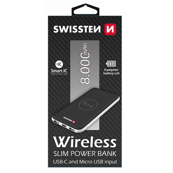 SWISSTEN, powerbanka, Li-Pol, 5V, 8000mAh, nabíjení mobilních telefonů aj., bezdrátové nabíjení telefonu, černá