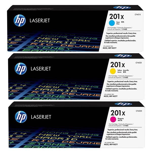 HP originální toner CF253XM, CMY, 6900 (3x2300)str., HP 201X, HP Color LaserJet MFP M277, Pro M252, M274, CMY, 3ks