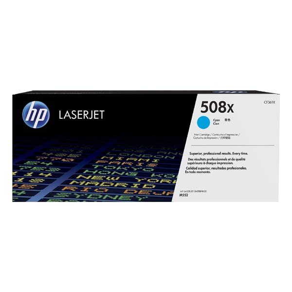 HP originální toner CF361X, cyan, 9500str., HP 508X, high capacity, HP Color LaserJet Enterprise M552dn,M553dn,553n,553x