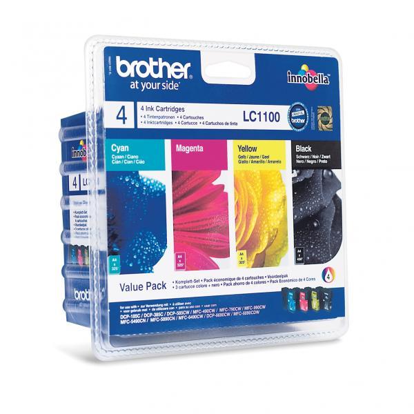 Brother originální ink LC-1100VALBP, CMYK, 450/3x325str., Brother DCP-385C, 585CW, MFC-490CW, výhodné balení