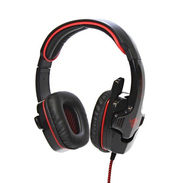 RED FIGHTER, H1 herní sluchátka s mikrofonem, ovládání hlasitosti, červeno-černá, USB