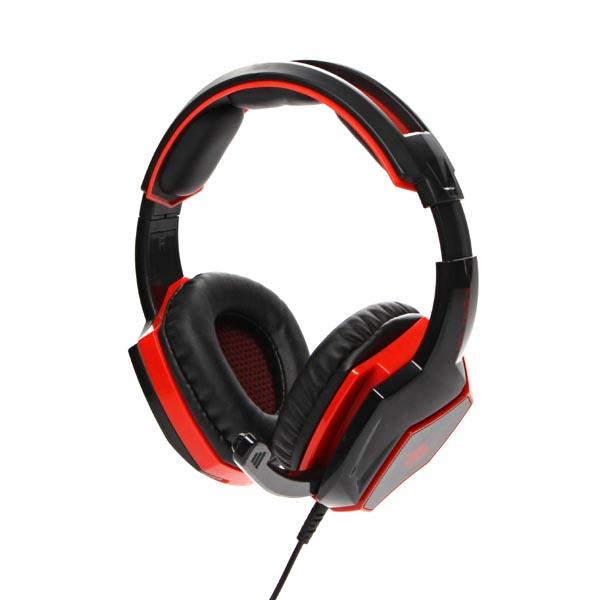 RED FIGHTER, H2 herní sluchátka s mikrofonem, ovládání hlasitosti, červeno-černá, 3.5 mm jack