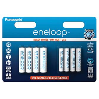 Nabíjecí baterie, AA (HR6) + AAA (HR03), 1.2V, 750mAh, 1900 mAh, Panasonic, blistr, 8-pack, Eneloop