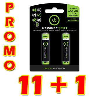 Nabíjecí baterie, AAA (HR03), 1.2V, 900 mAh, Powerton, box, 12x2-pack, PROMO 2-pack 11+1 (22+2 ks)