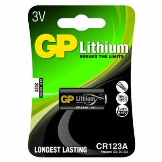 Baterie fotolithiová, CR123A, 3V, GP, blistr, 1-pack, od -40 °C do +60 °C