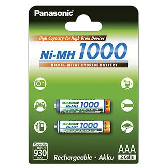Nabíjecí baterie, AAA (HR03), 1.2V, 1000 mAh, Panasonic, blistr, 2-pack