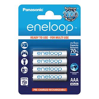 Nabíjecí baterie, AAA (HR03), 1.2V, 750 mAh, Panasonic, blistr, 4-pack, Eneloop