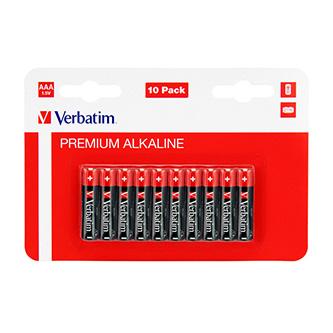 Baterie alkalická, AAA, 1.5V, Verbatim, blistr, 10-pack, 49874