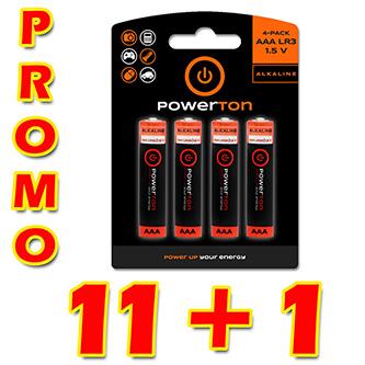Baterie alkalická, AAA, 1.5V, Powerton, box, 12x4-pack, PROMO výhodné balení