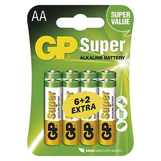Baterie alkalická, AA, 1.5V, GP, blistr, 8-pack, SUPER