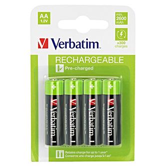 Nabíjecí baterie, AA (HR6), 1.2V, 2500 mAh, Verbatim, blistr, 4-pack