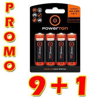 Baterie alkalická, AA, 1.5V, Powerton, box, 10x4-pack, PROMO výhodné balení