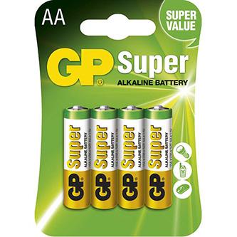 Baterie alkalická, AA, 1.5V, GP, blistr, 4-pack, SUPER