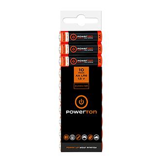 Baterie alkalická, AA, 1.5V, Powerton, folie s eurozávěsem, 10-pack
