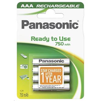 Nabíjecí baterie, AAA (HR03), 1.2V, 750 mAh, Panasonic, blistr, 4-pack