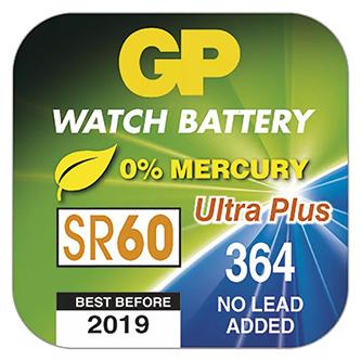 Baterie do hodinek, 364F, SR60, SR621, V364, 1.55V, GP, blistr, 10-pack
