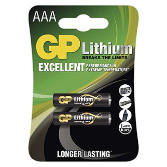 Baterie lithiová, AAA, 1.5V, GP, blistr, 2-pack