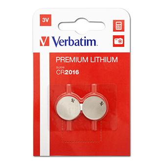 Baterie lithiová, CR2016, 3V, Verbatim, blistr, 2-pack, 43334
