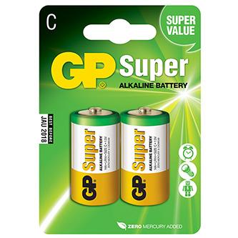 Baterie alkalická, LR14, 1.5V, GP, blistr, 2-pack, SUPER, malý monočlánek