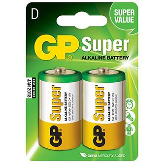 Baterie alkalická, LR20, 1.5V, GP, blistr, 2-pack, SUPER, velký monočlánek