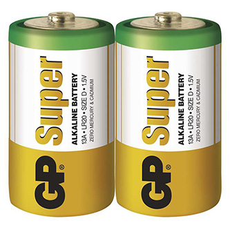 Baterie alkalická, LR20, 1.5V, GP, folie, 2-pack, SUPER, velký monočlánek