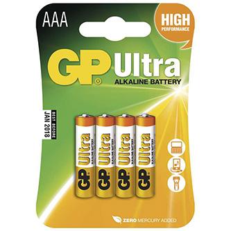 Baterie alkalická, AAA, 1.5V, GP, blistr, 4-pack, ULTRA