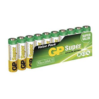 Baterie alkalická, AAA, 1.5V, GP, blistr, 10-pack, SUPER