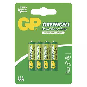 Baterie zinkochloridová, AAA, 1.5V, GP, blistr, 4-pack, Greencell