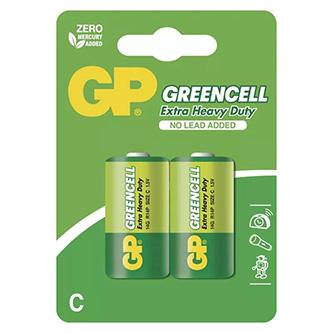 Baterie zinkochloridová, malý monočlánek, C, 1.5V, GP, blistr, 2-pack, Greencell