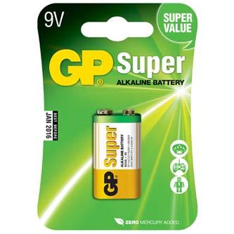 Baterie alkalická, R61, 9V, GP, blistr, 1-pack, SUPER