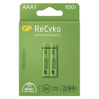 Nabíjecí baterie, AAA (HR03), 1.2V, 650 mAh, GP, papírová krabička, 2-pack, ReCyko