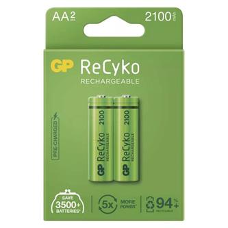 Nabíjecí baterie, AA (HR6), 1.2V, 2100 mAh, GP, papírová krabička, 2-pack, ReCyko