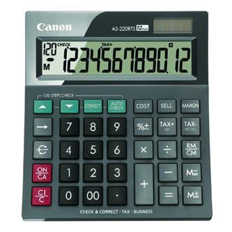 Canon Kalkulačka AS-220RTS, šedá, stolní, dvanáctimístná