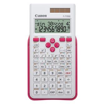 Canon Kalkulačka F-715SG, bílá, školní, dvanáctimístná, s růžovým krytem