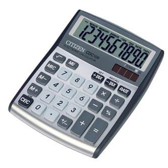 Citizen Kalkulačka CDC100WB, stříbrná, stolní, desetimístná, automatické vypnutí