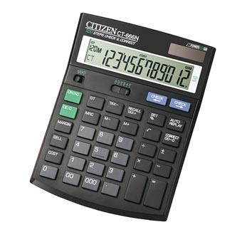 Citizen Kalkulačka CT666N, černá, stolní s výpočtem DPH, dvanáctimístná, automatické vypnutí