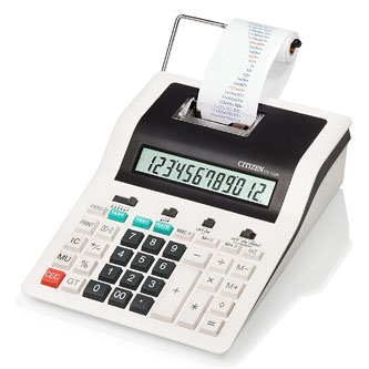 Citizen Kalkulačka CX123N, bíločerná, dvanáctimístná s tiskem, dvoubarevný tisk