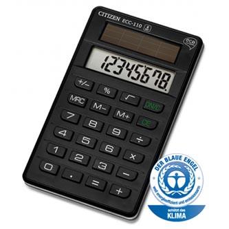 Citizen Kalkulačka ECC110, černá, stolní, osmimístná, šetrná k životnímu prostředí, solární napájení