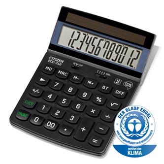 Citizen Kalkulačka ECC310, černá, stolní, dvanáctimístná, šetrná k životnímu prostředí, solární napájení