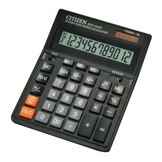 Citizen Kalkulačka SDC444S, černá, stolní, dvanáctimístná, duální napájení