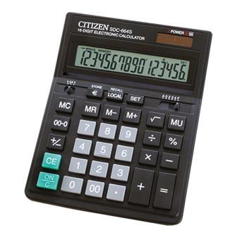 Citizen Kalkulačka SDC664S, černá, stolní, šestnáctimístná, duální napájení, LCD displej