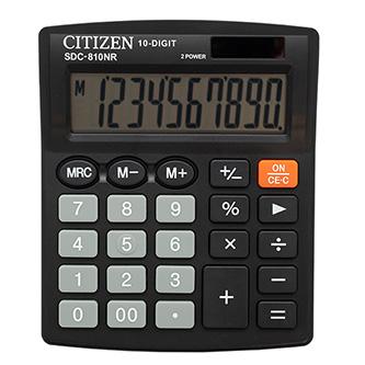 Citizen Kalkulačka SDC810NR, černá, stolní, desetimístná, duální napájení