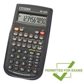 Citizen Kalkulačka SR135N, černá, vědecká, desetimístná