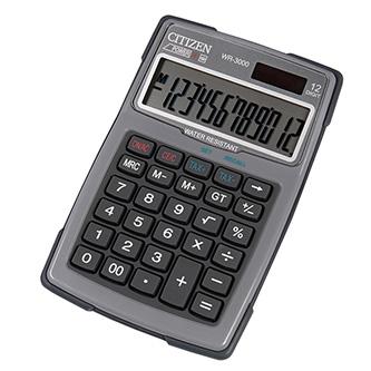 Citizen Kalkulačka WR3000NRGYE, šedá, stolní s výpočtem DPH, dvanáctimístná, vodotěsná, prachuodolná, automatické vypnutí