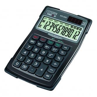 Citizen Kalkulačka WR3000, černá, stolní s výpočtem DPH, dvanáctimístná, vodotěsná, prachuodolná, automatické vypnutí